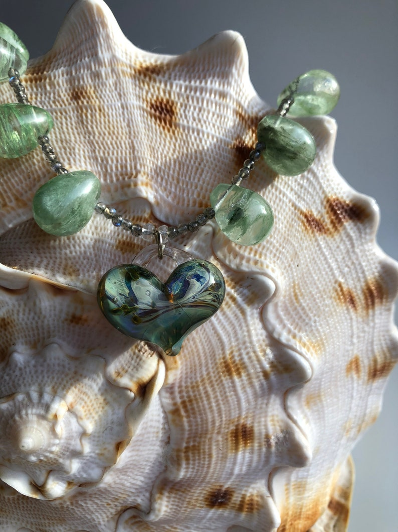 Stunning handmade special glass heart necklace with greens and image 1