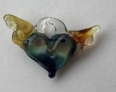 Tiny Amber Winged Deep Blue Heart