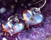 Purple iridescent Heart Earrings, borosilicate bead