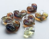 Glass Hearts, lamp worked, jewelry supply, perfect charms, Pyrex, purple & amber, borosilicate bead