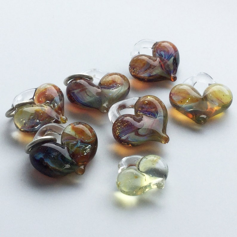 Glass Hearts lamp worked jewelry supply perfect charms image 0