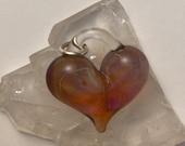 Amber Purple Heart, perfect charm, hand made glass, borosilicate bead