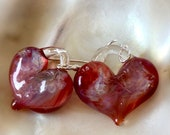 Glass heart earrings, crimson scarlet, hand made with love, Borosilicate