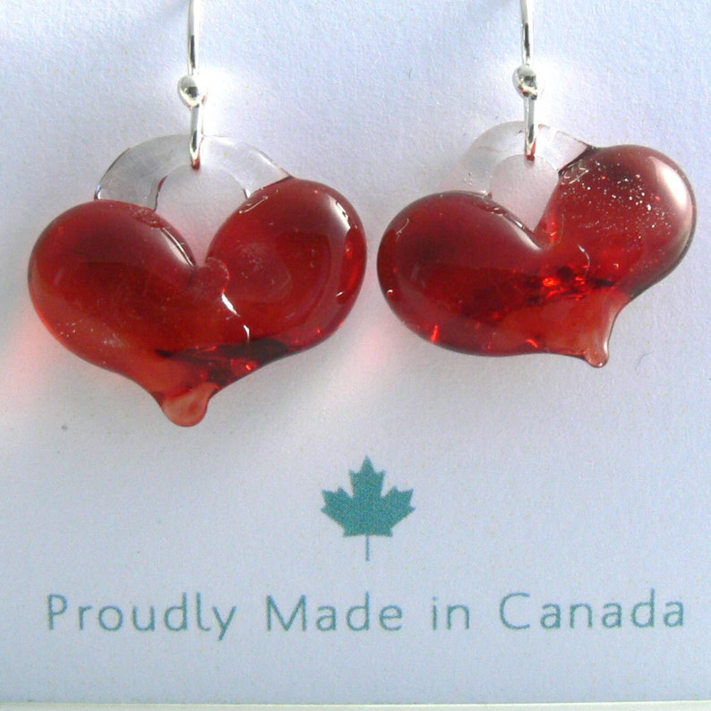 Awesome Red Heart Earrings on Stirling Silver Hooks image 0
