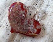 Glass Heart, Scarlet with amber purple, lamp worked, jewelry supply, perfect charms, Pyrex
