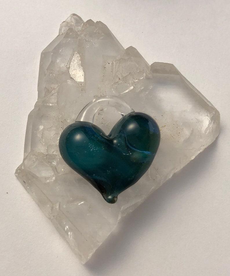 Turquoise Heart perfect charm hand made glass borosilicate image 0