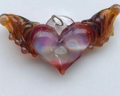 Glass Heart, pink and purple with amber wings, perfect charms, Pyrex