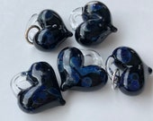 Glass Heart, blue iridescent dots, lamp worked, jewelry supply, perfect charms, Pyrex