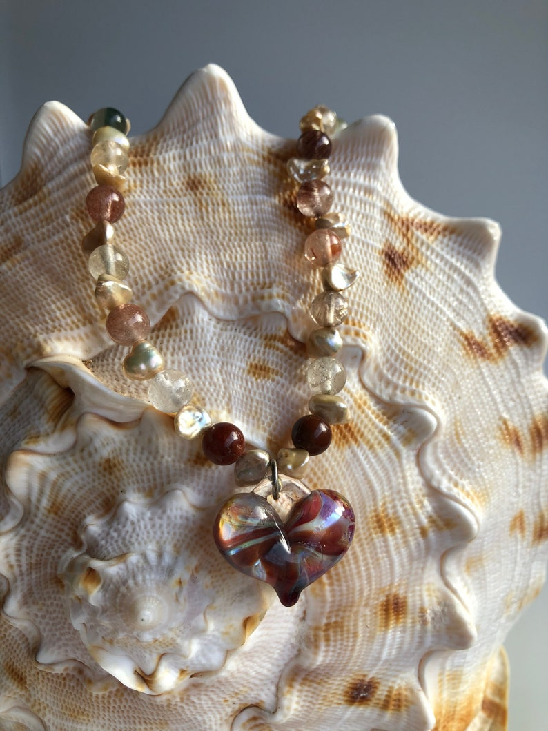 Handmade Glass Heart Necklace with fresh water pearls moss image 1