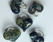 Glass Hearts, lamp worked,jewelry supply, perfect charms, Pyrex, blue, borosilicate bead green & gold