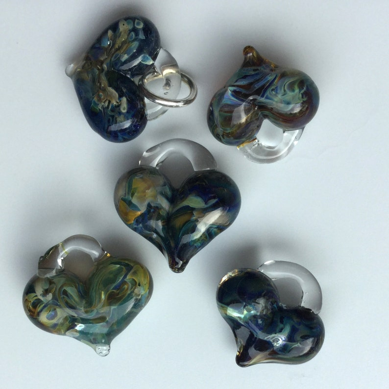 Glass Hearts lamp workedjewelry supply perfect charms image 0