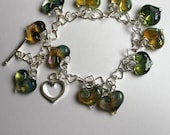 Silver Heart Chain with 11 Green Pyrex Hearts Bracelet, borosilicate bead