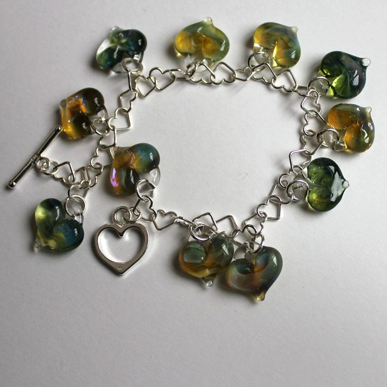 Silver Heart Chain with 11 Green Pyrex Hearts Bracelet image 0