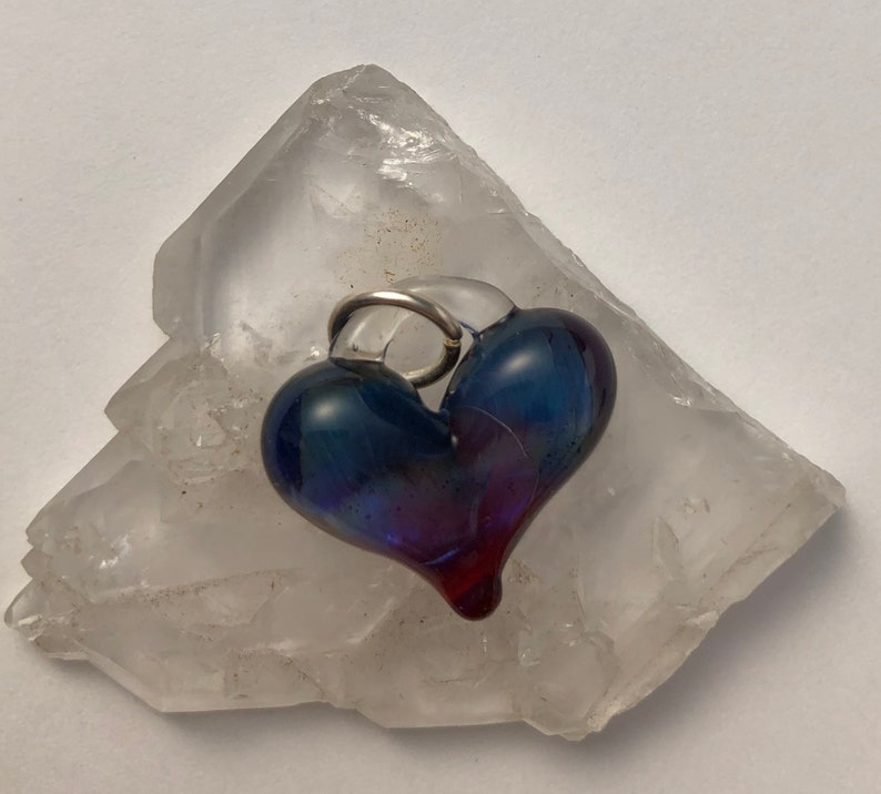 Delicate Purple Heart perfect charm hand made glass image 0