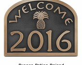 Welcome Hospitality Pineapple Home Numbers Address Sign or Plaque Custom 16 quot W x 12.6 quot H (other sizes available)
