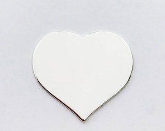 """1"""" Heart - 22 gauge Sterling Silver Stamping Blank for Hand Stamped Jewelry"""
