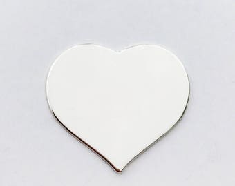 1 inch Heart - 20 gauge Sterling Silver Stamping Blank for Hand Stamped Jewelry