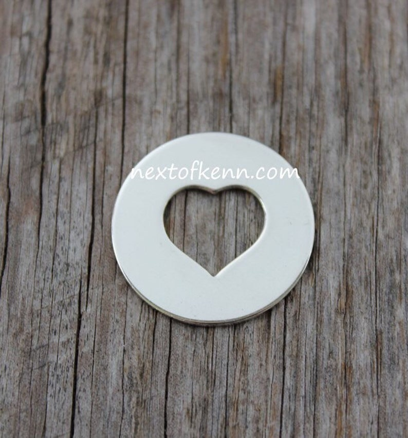One - 1 inch 22 Gauge Sterling Silver Heart Center Washer - Round Circle  Washer Heart Cut Out in Center Jewelry Stamping Supplies
