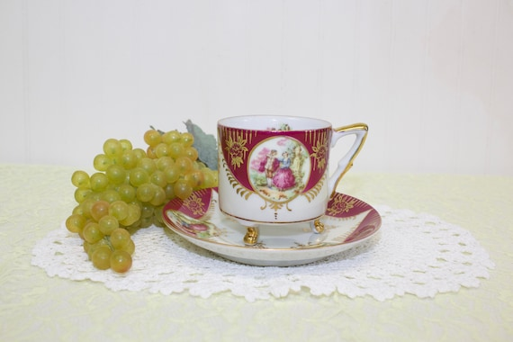 Vintage Royal Sealy Footed Teacup-Lusterware, Pink and gold.