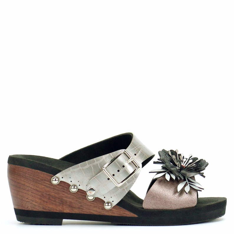 4a4bc08721611 Mid Wedge Flower Toe Mule in Rose and Croc - Vegan Sandals - Made in USA by  Mohop