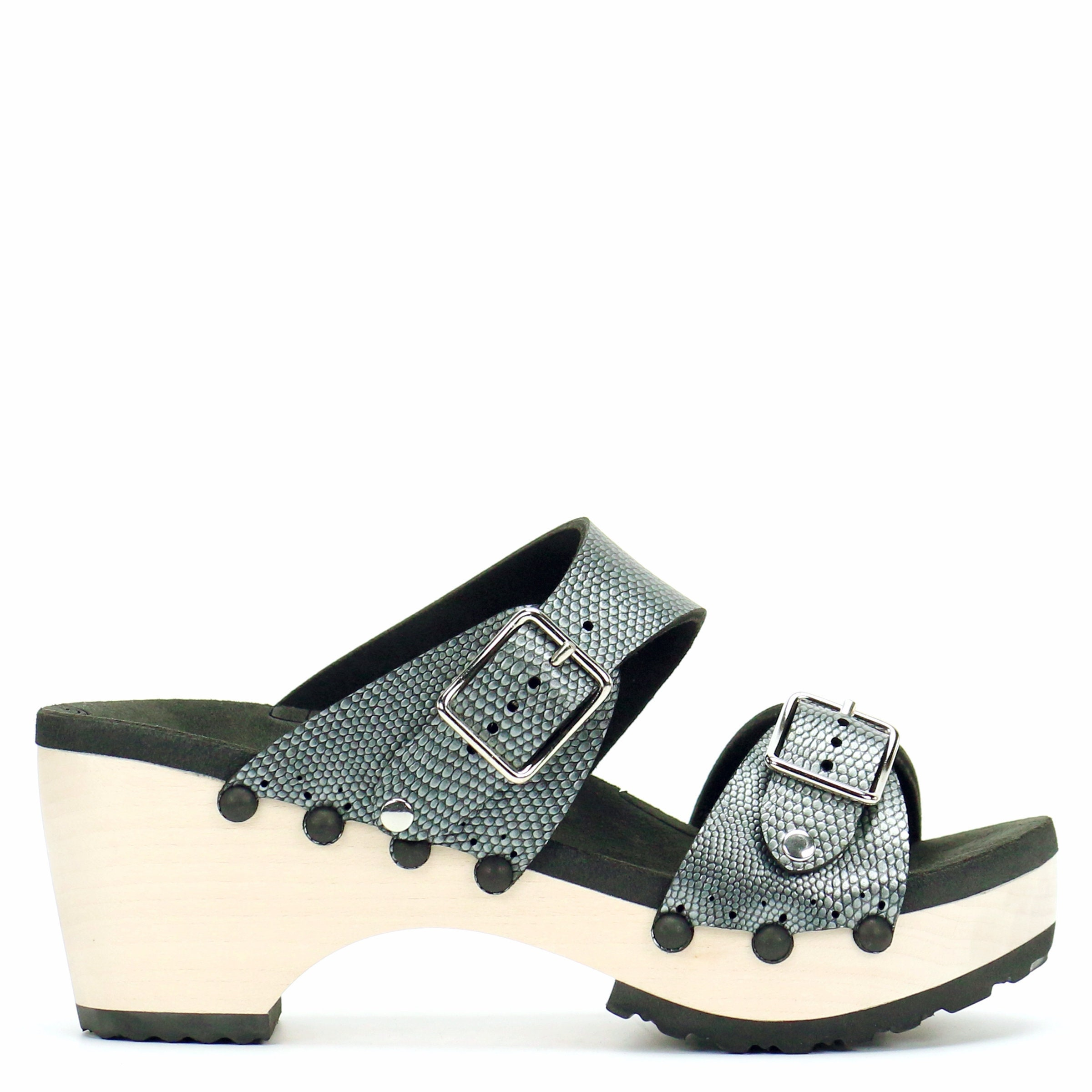 2a1a12c484611 Mid Clog Buckle Toe Mule in Pewter - Vegan Sandals - Made in USA by Mohop