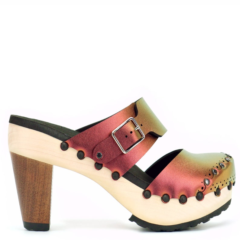 Vegan Leather Mules Red Iridescent Clogs Closed Toe Clogs Ruby High Heel Clogs High Heel Clogs Handmade Wooden Clogs Made in USA