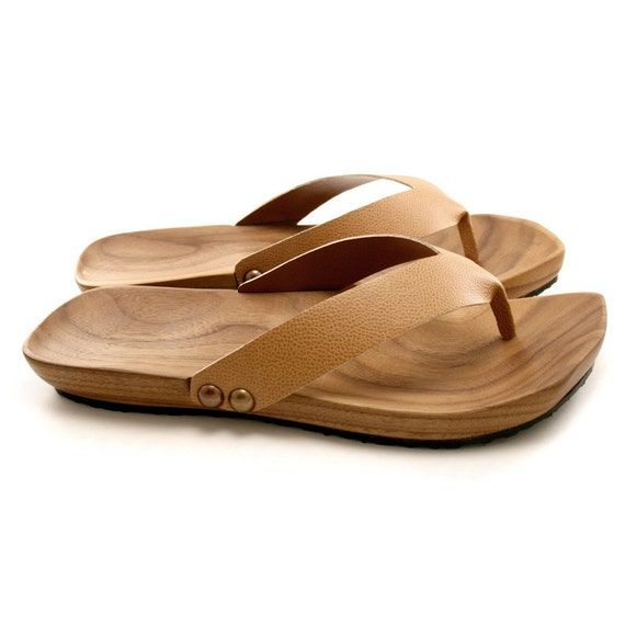8d79ea9524a1 Items similar to Mens Mohop Handmade Wood-Sole Thong-Style Sandals on Etsy