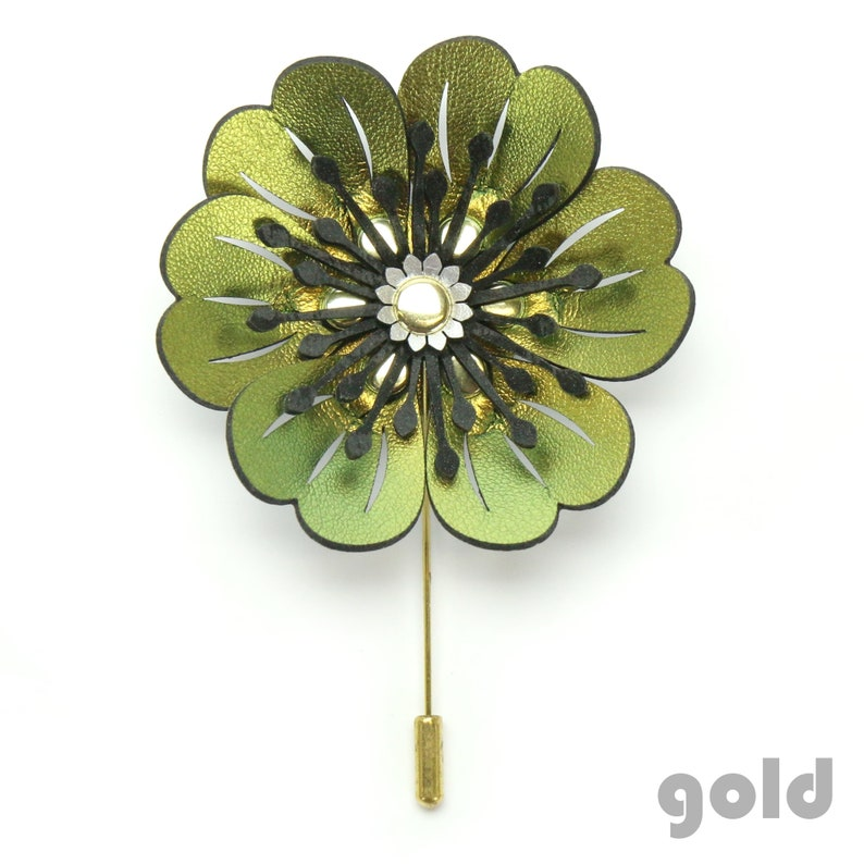 Vegan Leather Jewelry Flower Brooch Flower Stick Pin Faux Leather Flower Pin Vegan Flower Brooch Made in USA by Mohop Flower Pin
