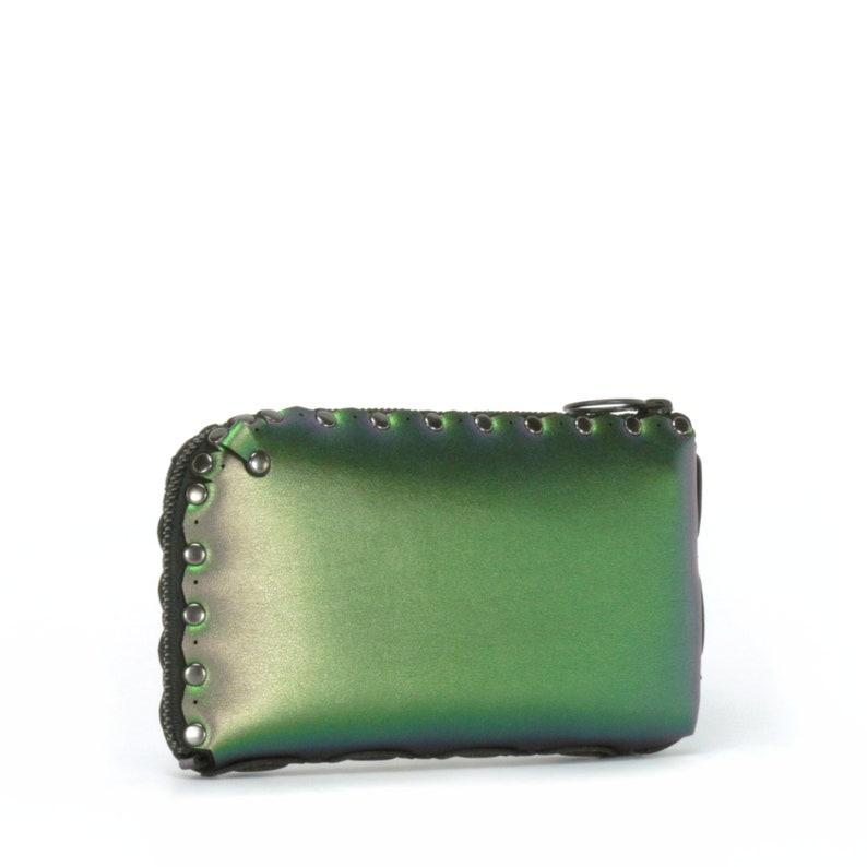 Zippered Wallet Crossbody Bag Emerald Wallet Bag Green Iridescent Bag Organizer Free Personalization Vegan Leather Large Wallet Bag