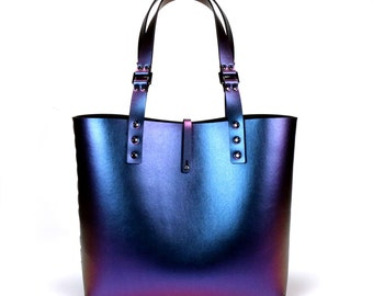 Peacock Iridescent Tote Bag | Blue to Purple Tote | Vegan Tote | Made in USA