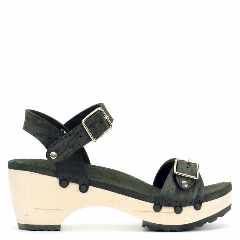 56c5195e05ad2 Mid Clog Buckle Toe Ankle in Midnight - Vegan Sandals - Made in USA by Mohop