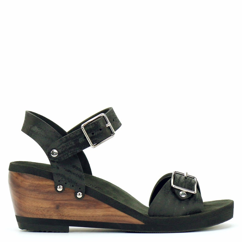 7ddbed66b7613 Mid Wedge Buckle Toe Ankle in Midnight - Vegan Sandals - Made in USA by  Mohop