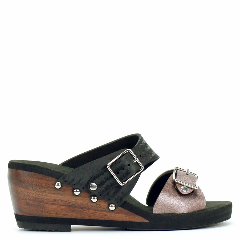 688f3f60e2f49 Mid Wedge Buckle Toe Mule in Rose and Midnight - Vegan Sandals - Made in  USA by Mohop