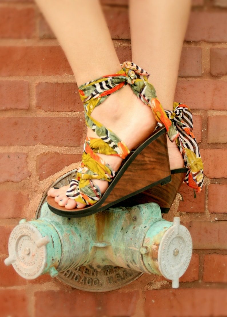 a3e0e520c7ad8 High Wedge Ribbon Thong Sandal by Mohop Handmade Shoe with 5