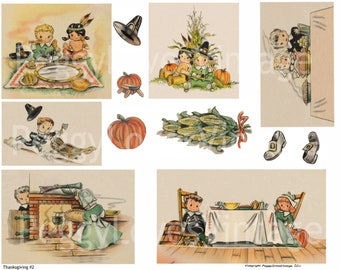Thanksgiving 2 Digital Collage from Vintage Greeting Cards   - Cut Outs - Instant Download