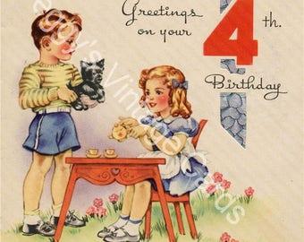 Vintage Children's Birthday Greeting Card Images on CD Vol 1