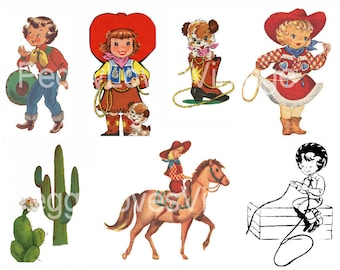 Cowgirls 1 Digital Collage from Vintage Greeting Cards -  Instant Download - Cut Outs