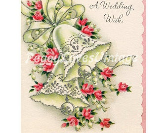 Wedding 4  Beautiful Bells with Pink Roses a Digital Image from Vintage Greeting Cards - Instant Download