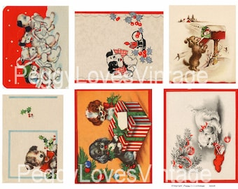 Christmas Puppies 1 Digital Collage from Vintage Christmas Greeting Cards- Instant Download
