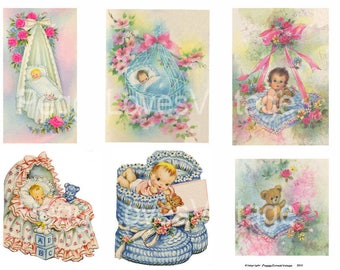 Sweet Babies 4 Digital Collage from Vintage Greeting Cards - Instant Download - Cut Outs