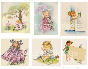 Sweet Little Girls 3 Digital Collage from Vintage Greeting Cards - Instant Download