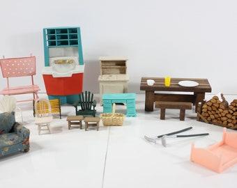 Dollhouse Miniatures Dolls & Bears Vtg Dollhouse Miniature Doll House Tiny Hong Kong Dining Lot Furniture Accessory