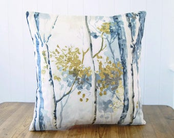 12 x 16 inch / 16 x 16 inch ochre mustard grey taupe cream woodland cushion cover, trees art decorative pillow cover