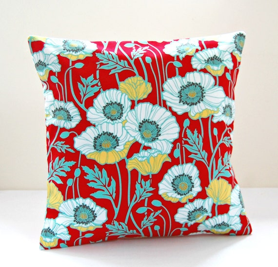 Red Mint Green Blue Yellow White Poppies Decorative Pillow Etsy Mesmerizing Poppy Decorative Pillows