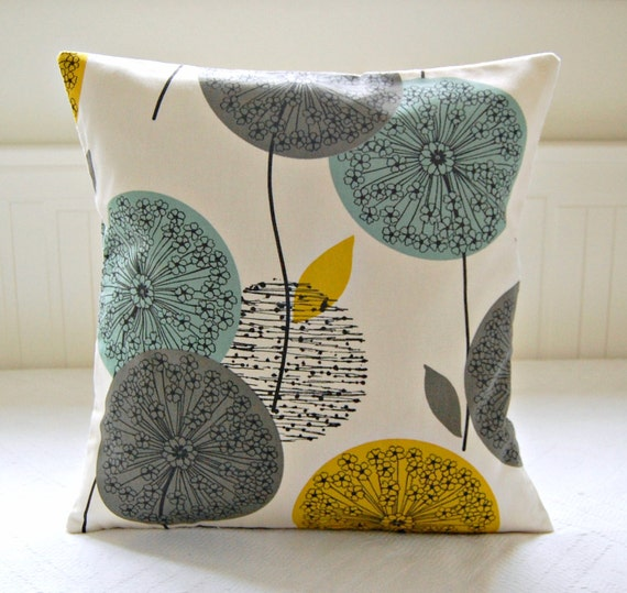 Decorative Pillow Cover Mustard Yellow Blue Teal Grey Etsy Gorgeous Teal And Grey Decorative Pillows