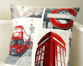 London cushion cover, UK red bus, telephone box ,underground pillow cover 18 inch
