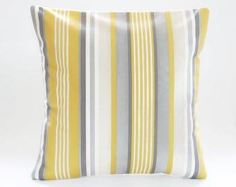 grey ochre mustard yellow beige white stripe cushion cover, decorative pillow cover 16 inch / 40 cm