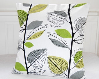 decorative pillow cover lime bright green grey black leaves cushion cover, 12 x 16 inch lumbar / 16 x 16 inch throw cushion cover