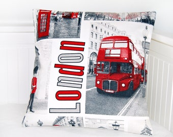 London cushion cover, UK red bus, telephone box, pillow cover 40 cm