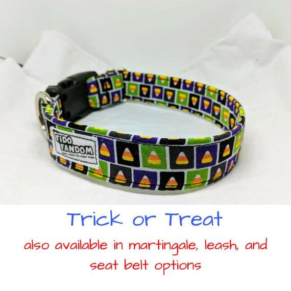 Trick or Treat Dog Collar, Cat Collar, Halloween, Candy Corn, Green, Purple, Martingale Upgrade, Handmade, Multiple Widths